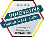 Innovative through Reseach - Official seal of Stifterverband for research and development